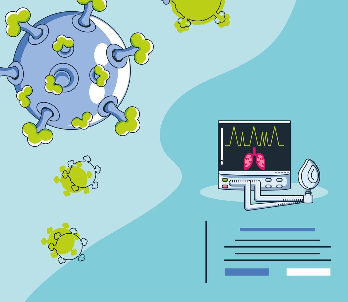 infografía con un virión de coronavirus vector