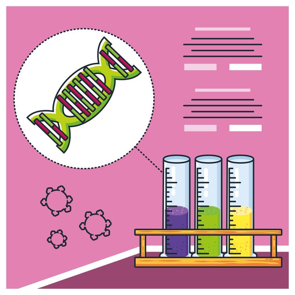 infografía con molécula de adn e investigación para covid 19 vector