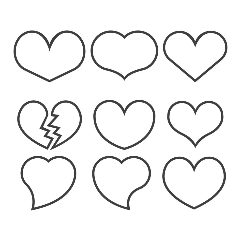 conjunto de iconos de contorno de corazón vector