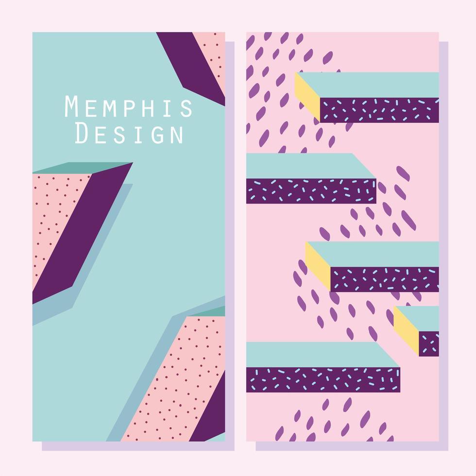 Banners de movimiento de diseño de memphis o plantilla de tarjeta vector