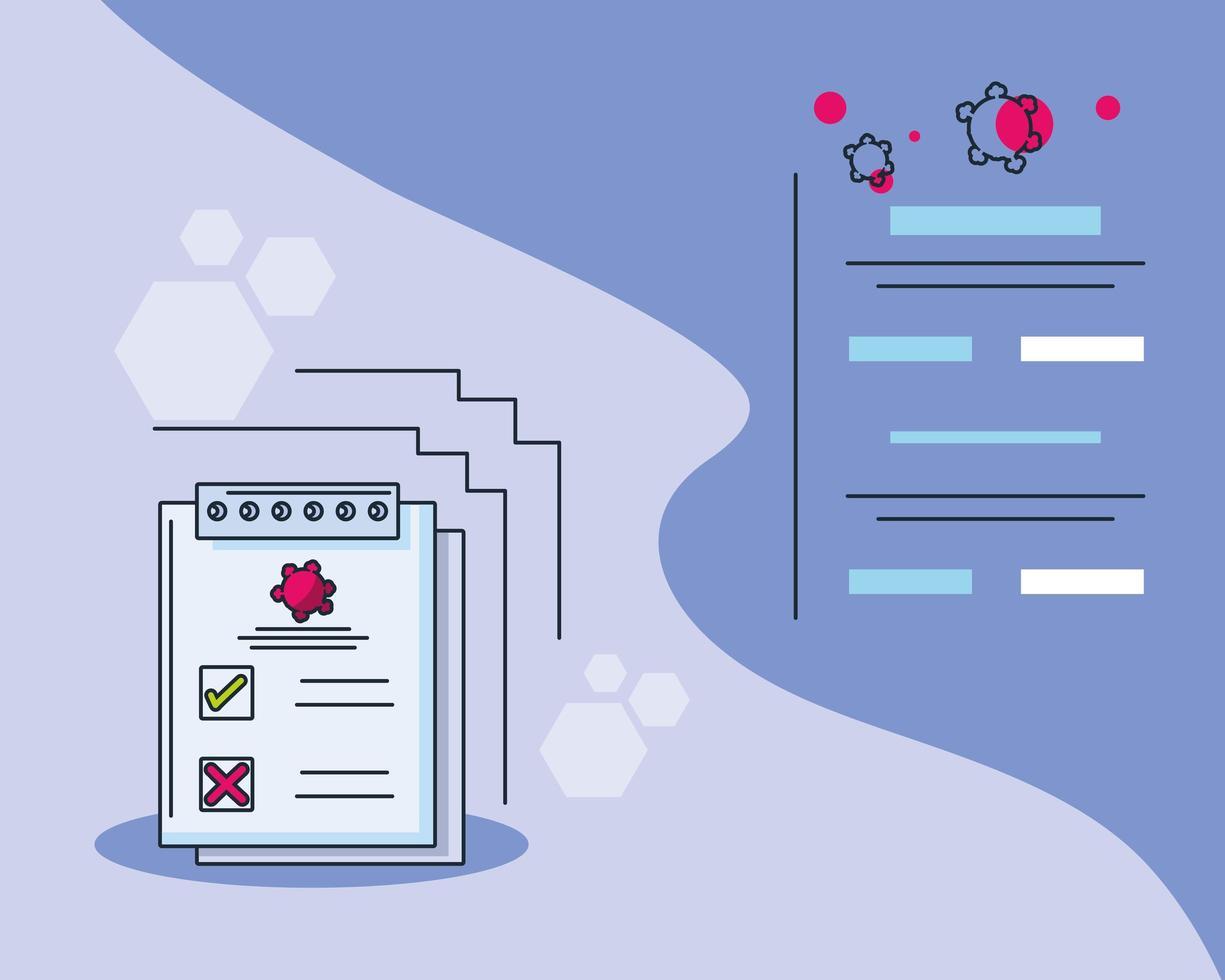 infografía con formulario de análisis de laboratorio médico e investigación de covid 19 vector