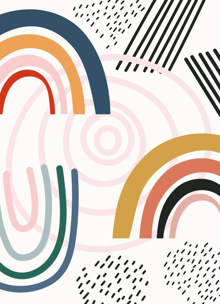 plantilla de formas contemporáneas abstractas dibujadas a mano vector