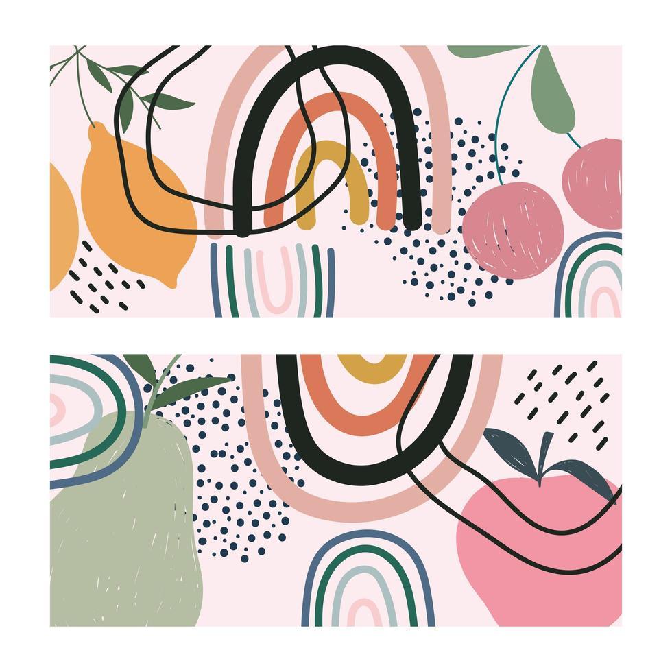 frutas y tarjetas de formas contemporáneas dibujadas a mano vector