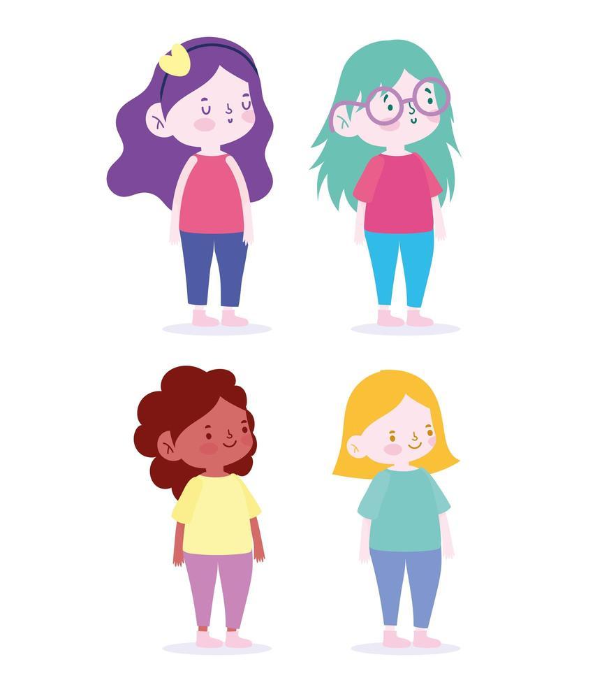 conjunto de personajes de niñas pequeñas vector