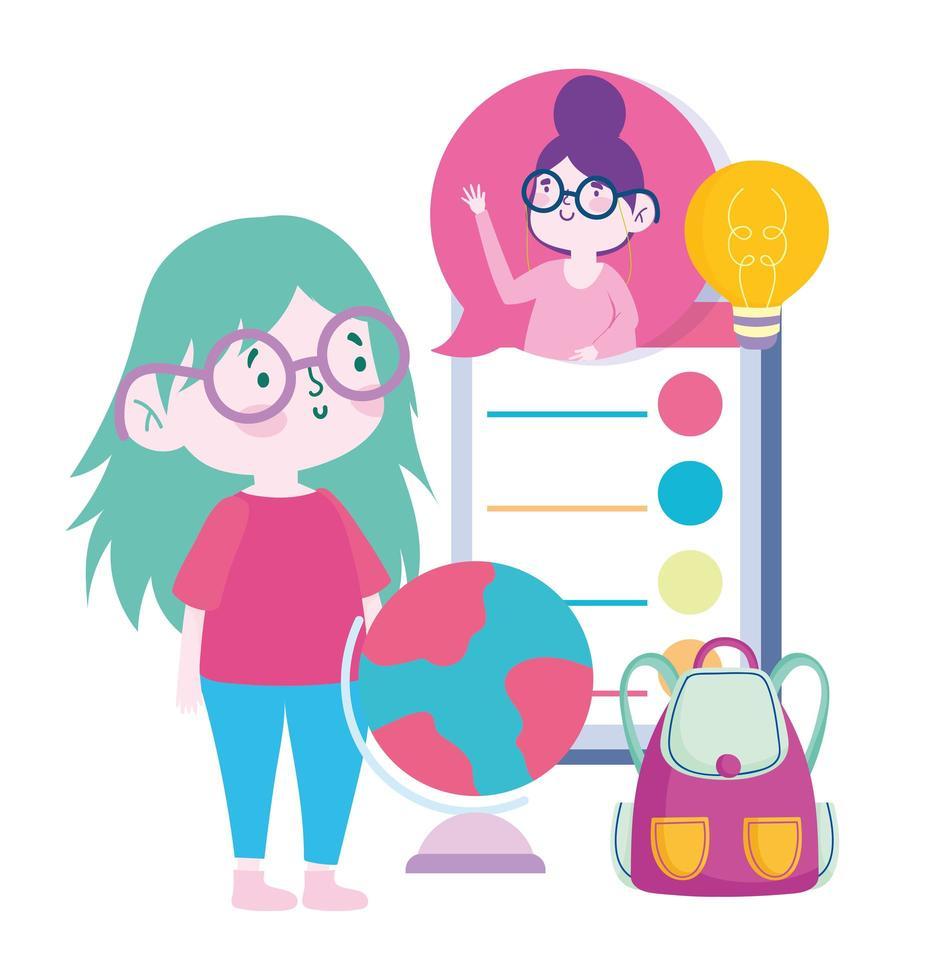 maestra y alumna a través de la educación en línea vector