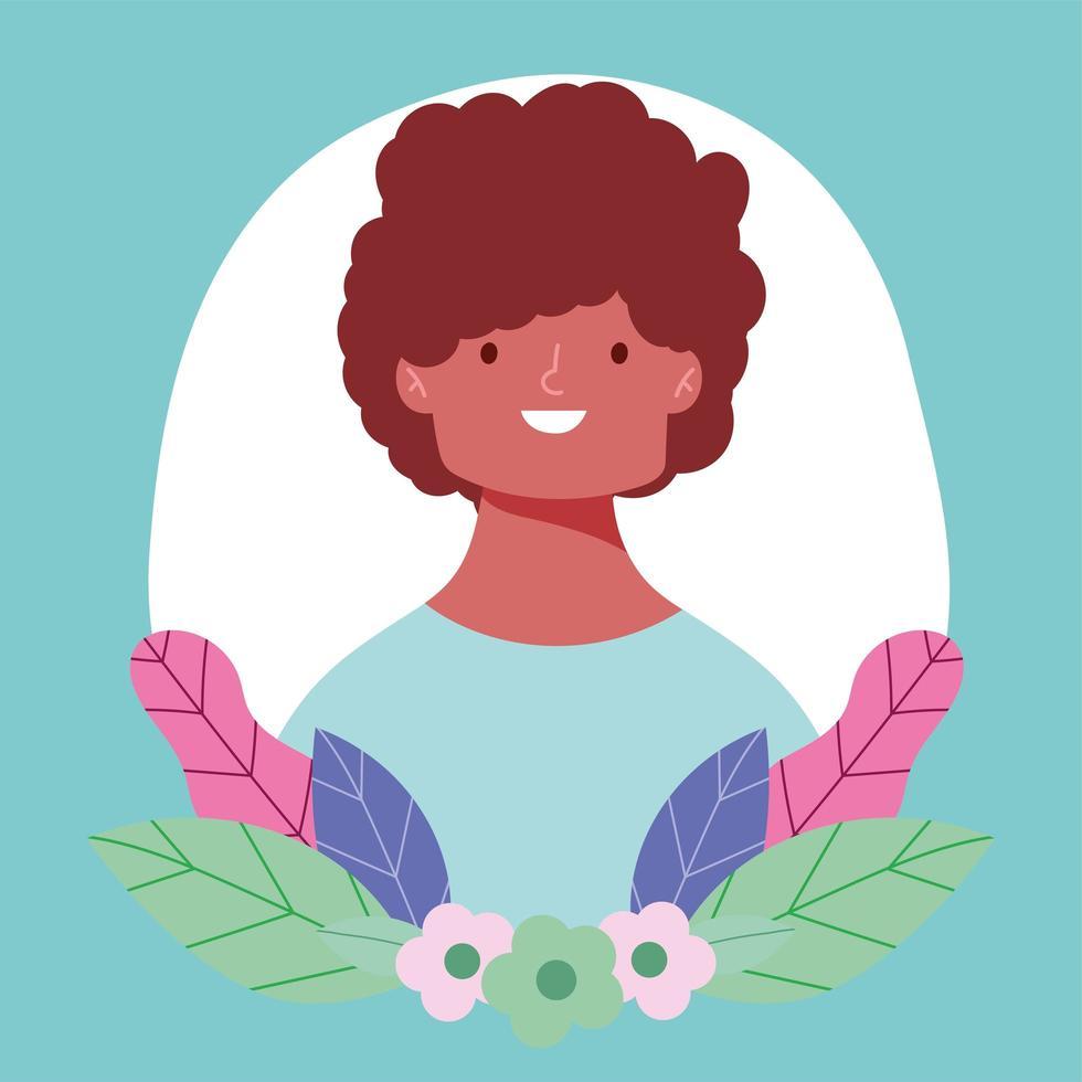retrato, de, un, joven, con, flores vector
