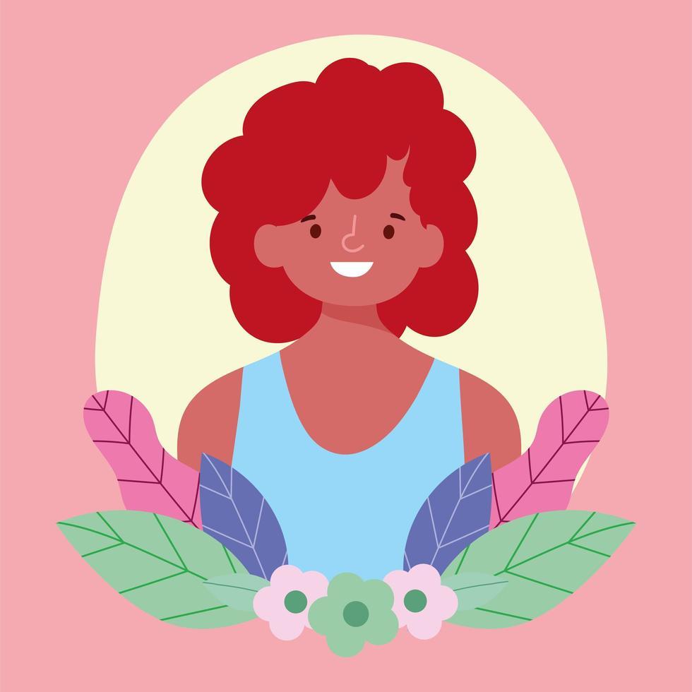 retrato de una persona joven con flores vector