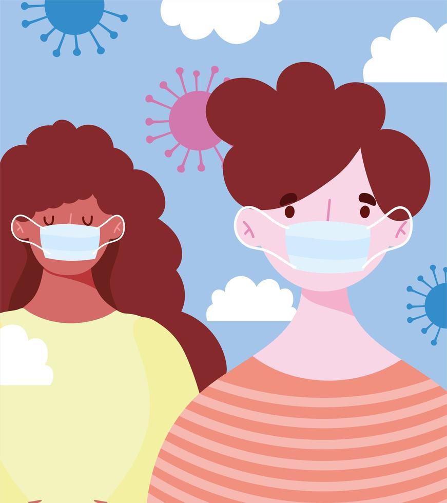 jóvenes con mascarillas médicas durante el coronavirus vector