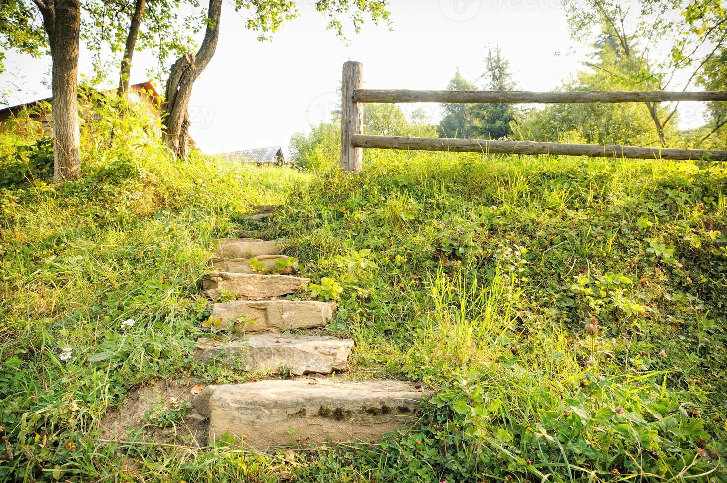 hermoso sendero de trekking en la montaña. foto