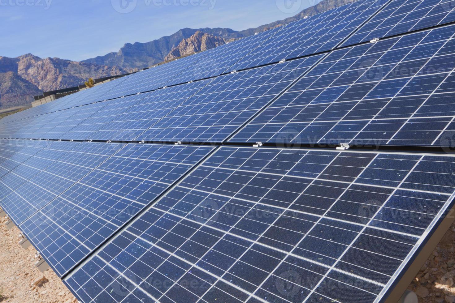 Solar panels in the Mojave Desert. photo
