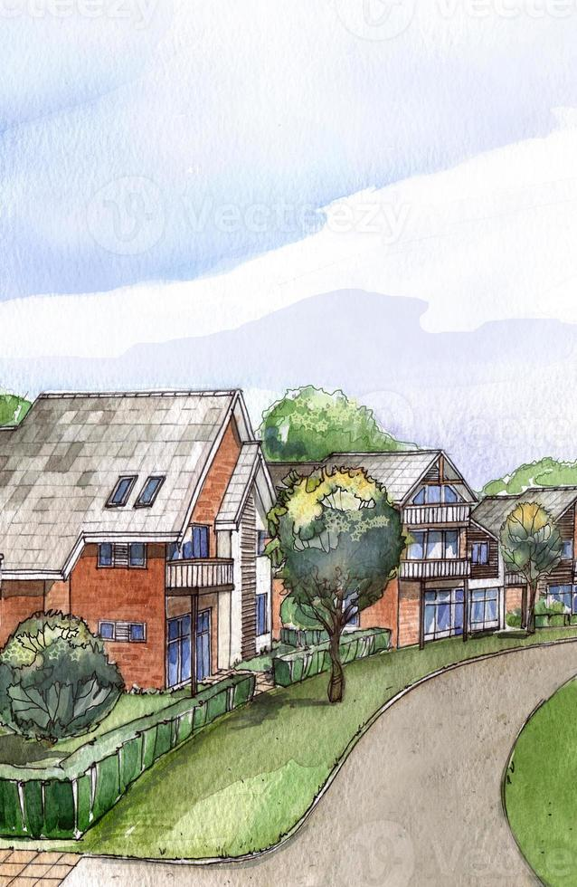 Residential area watercolour painting photo