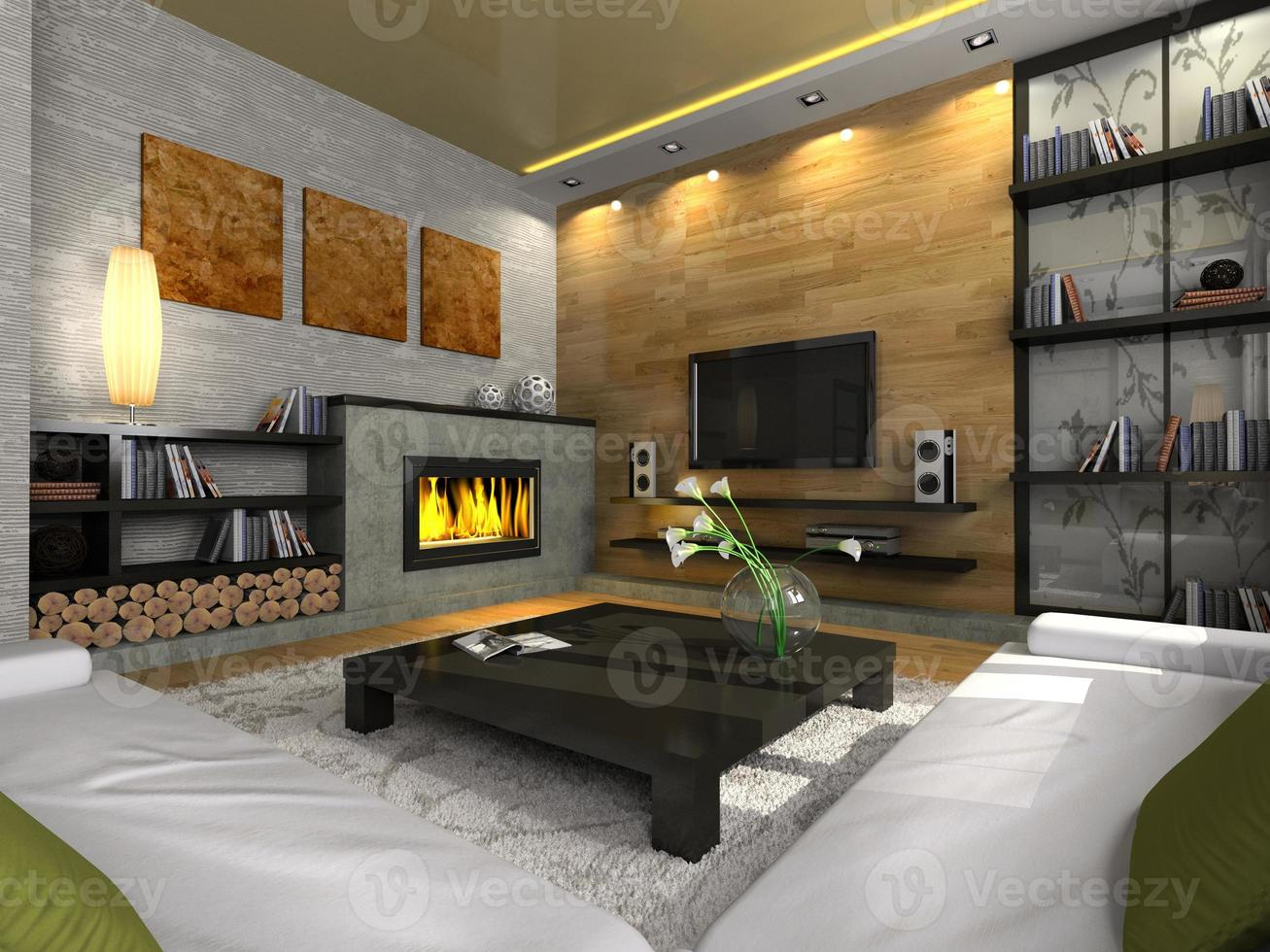 vista sobre el moderno apartamento con chimenea 3d foto