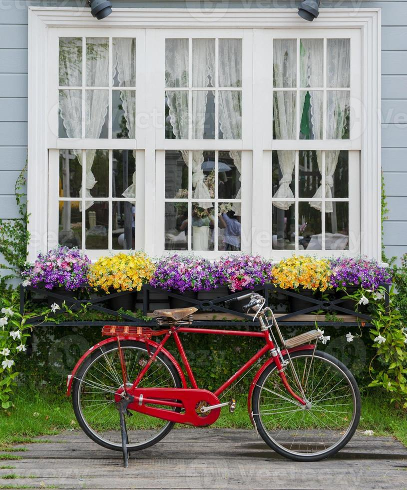 Red bicycle photo