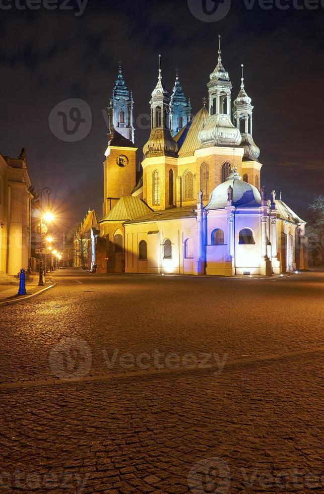 Gothic cathedral towers at night photo