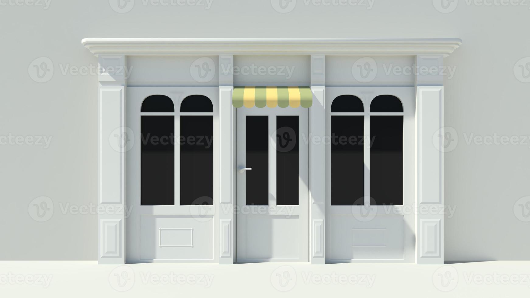 Sunny Shopfront with large windows White store facade photo