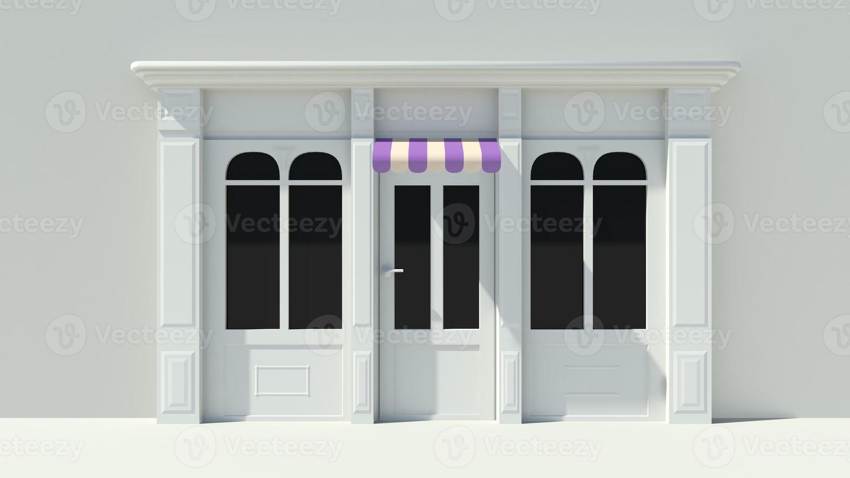 soleado escaparate con grandes ventanales fachada de tienda blanca foto