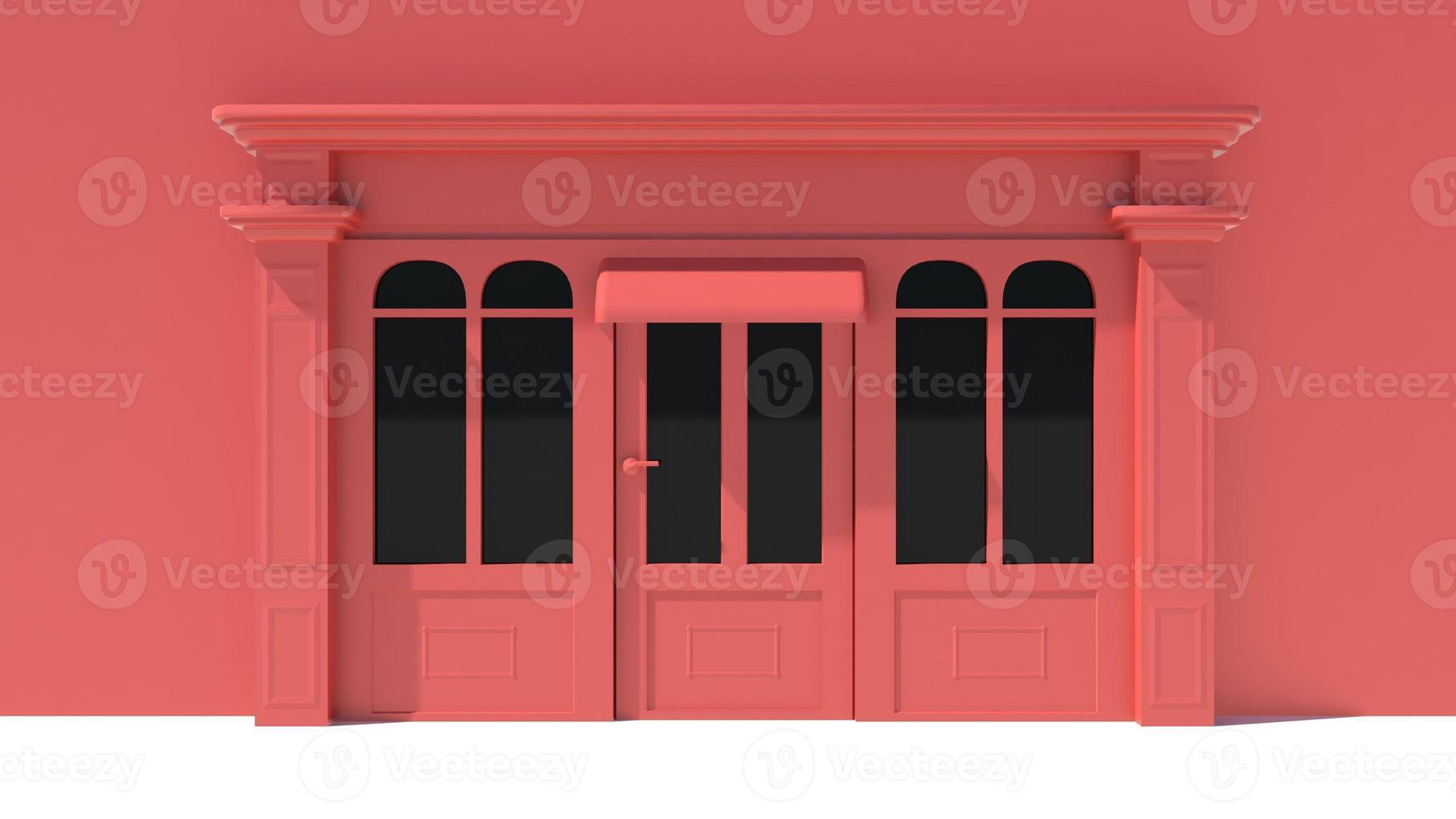 soleado escaparate con grandes ventanales fachada de tienda blanca y roja foto