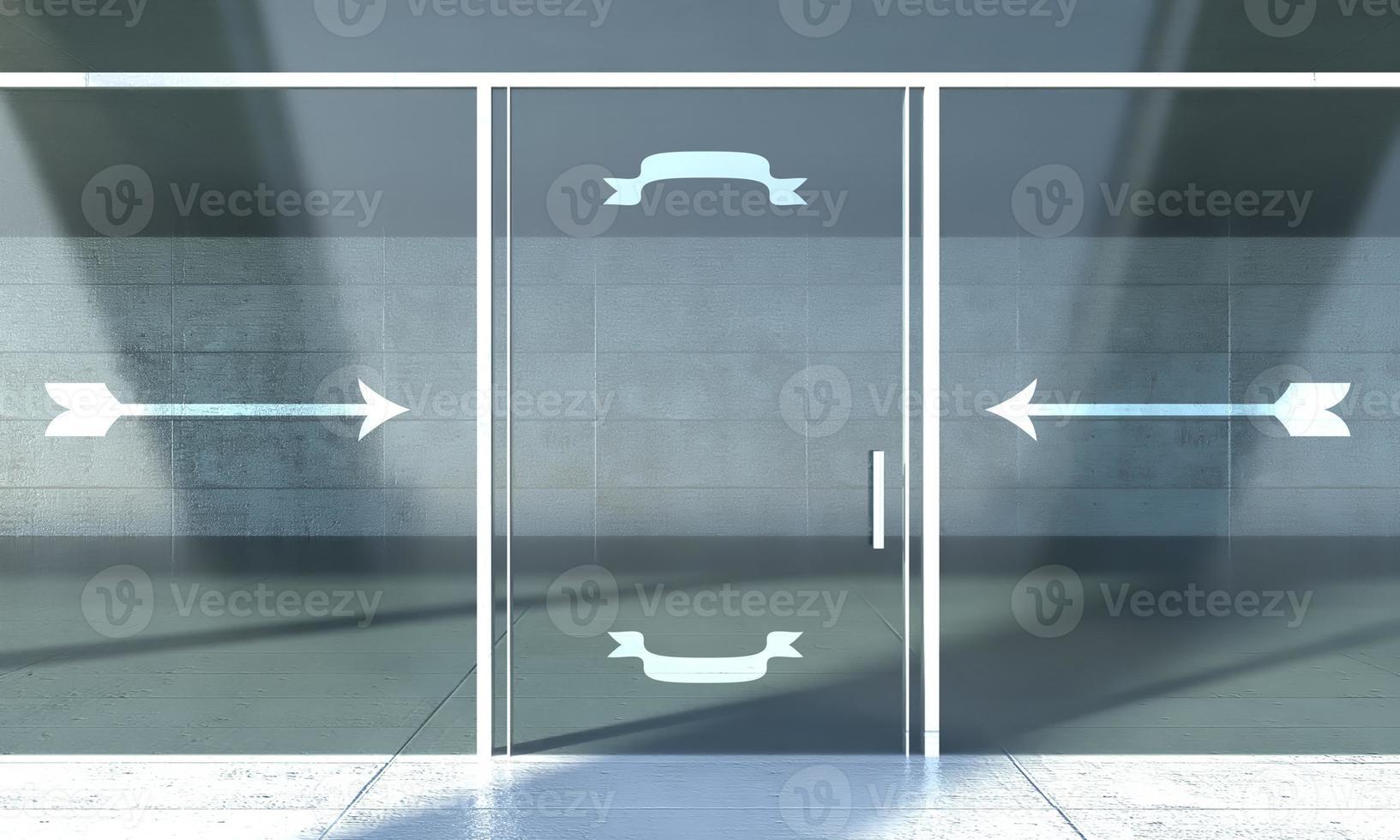 puerta de escaparate con carteles de invitación, espacio vacío para texto foto