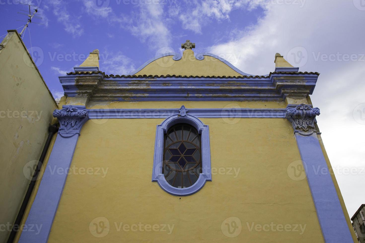 Yellow and blue church photo
