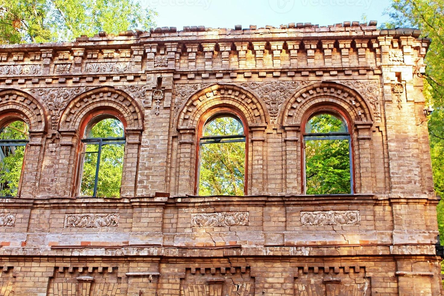 Ruined old building, Kyiv, Ukraine photo