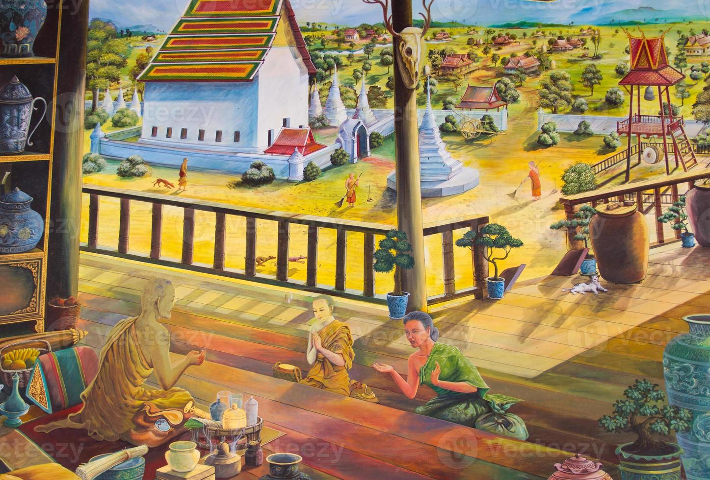 Traditional Thai mural painting on temple wall photo