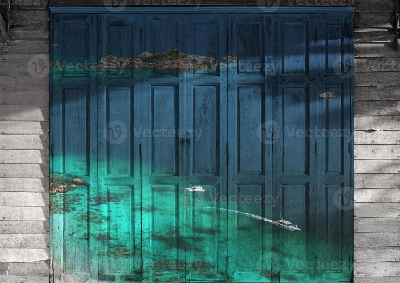 """""""seascape of Similan island"""" Mural. The wooden door painting  co photo"""