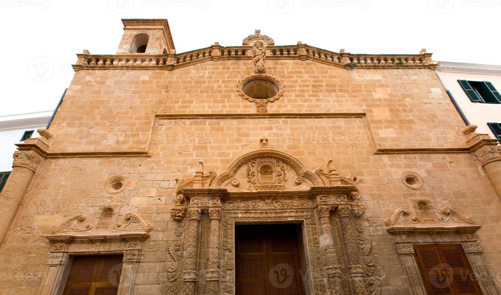 Menorca el roser iglesia en el centro de la ciudad de Baleares foto