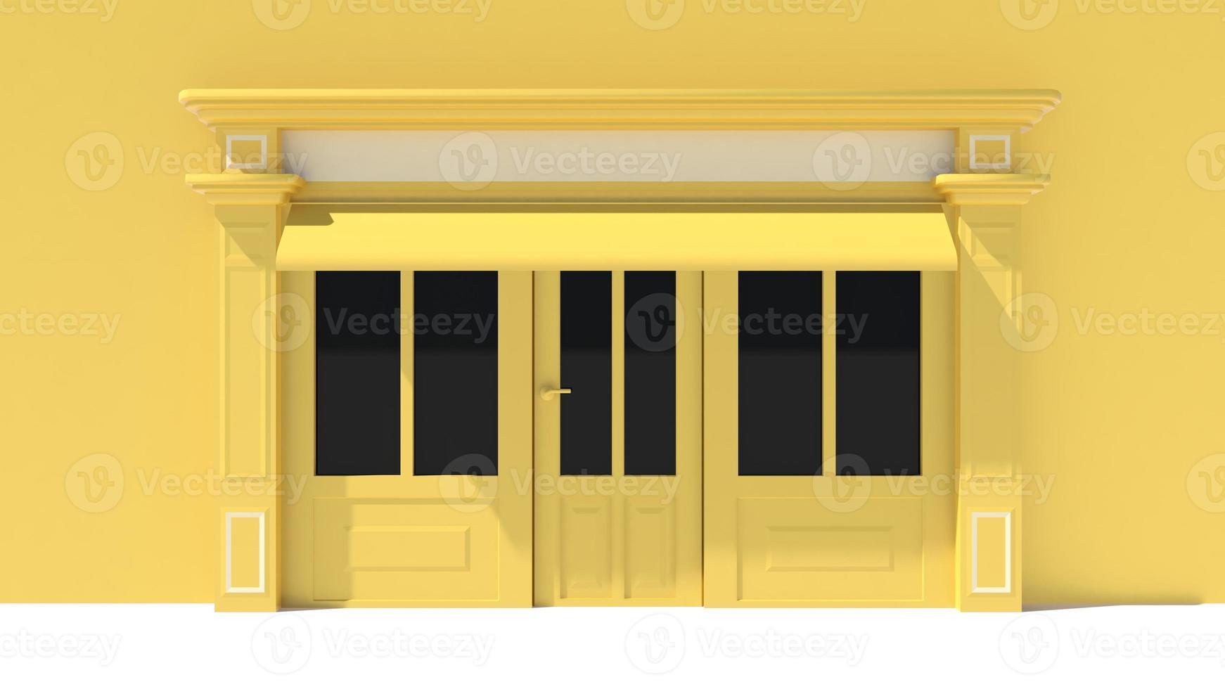 soleado escaparate con grandes ventanales tienda blanca y amarilla foto