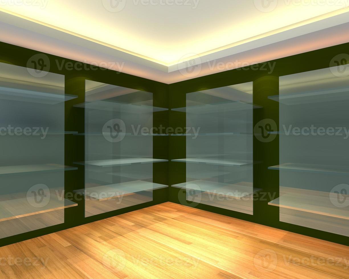 estantes de vidrio en la habitación vacía verde foto