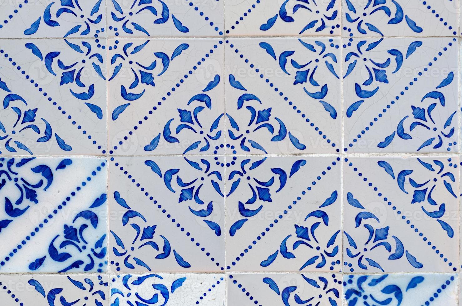 Traditional Portuguese glazed tiles photo