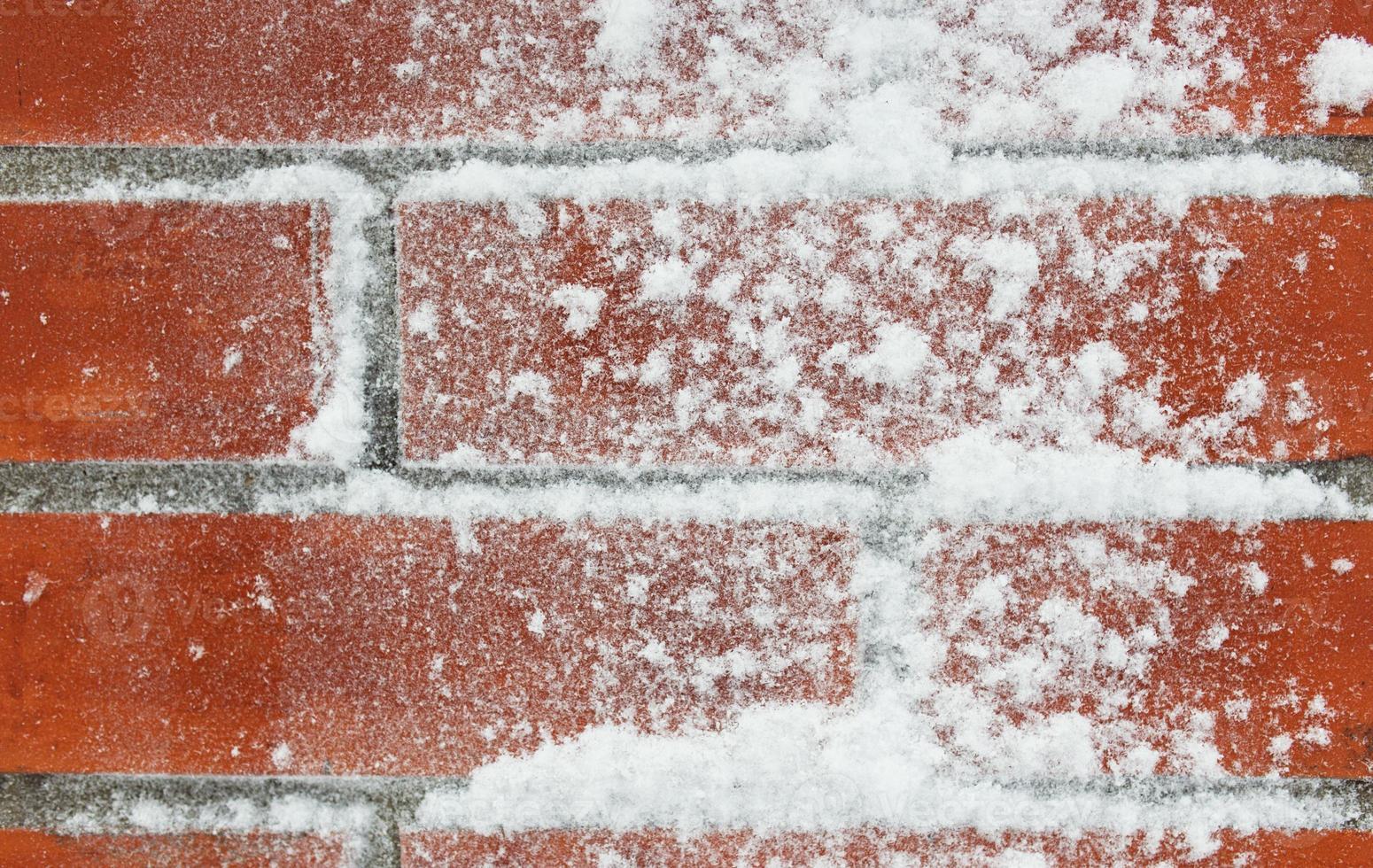 Closeup de pared de ladrillo cubierto de nieve foto