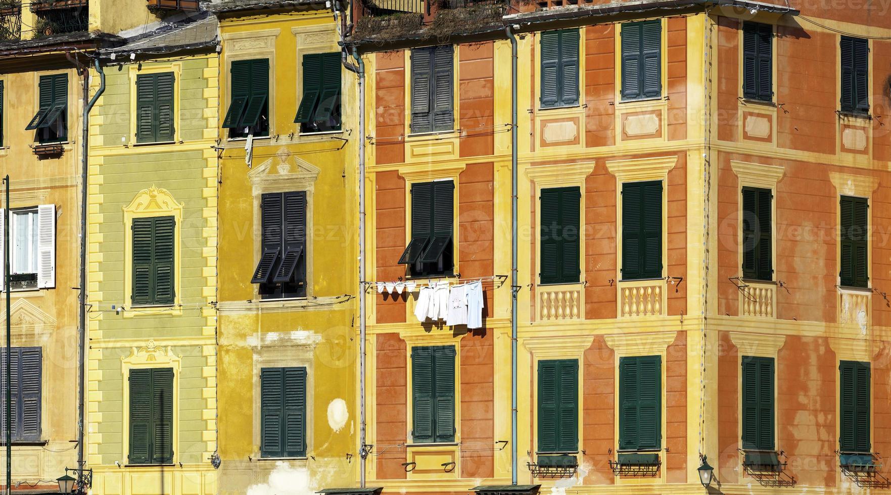 Portofino's houses detail. Color image photo