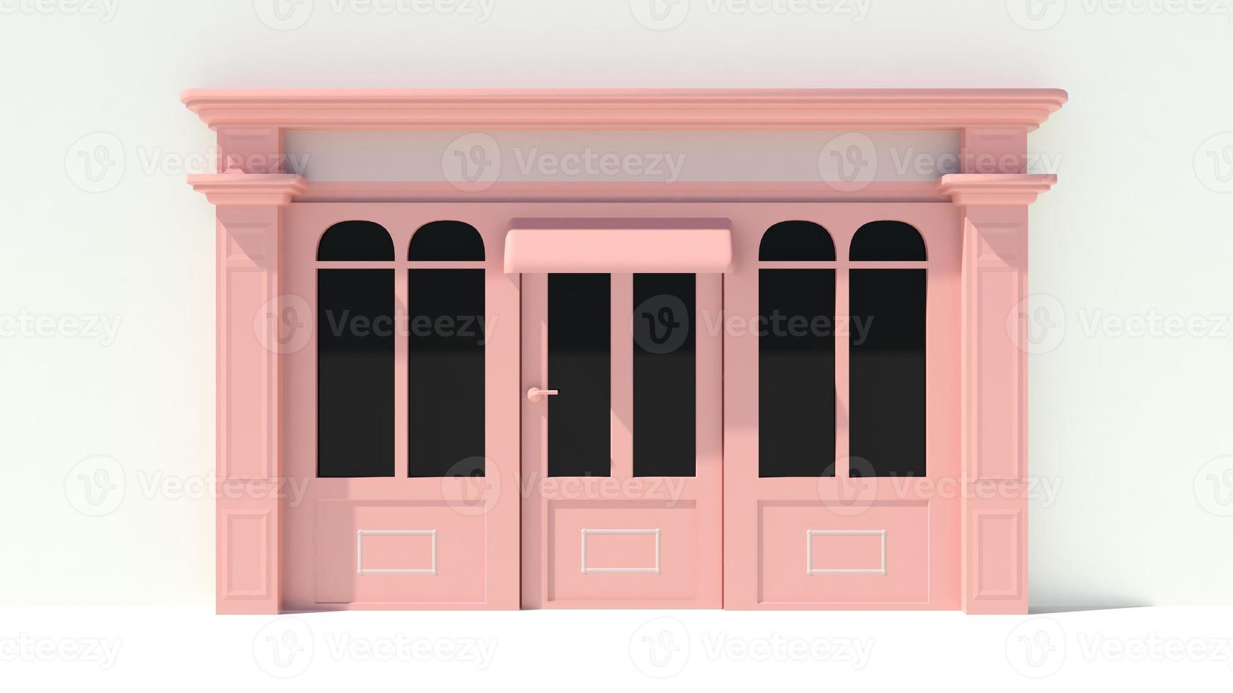 soleado escaparate con grandes ventanales fachada de tienda blanca y rosa foto