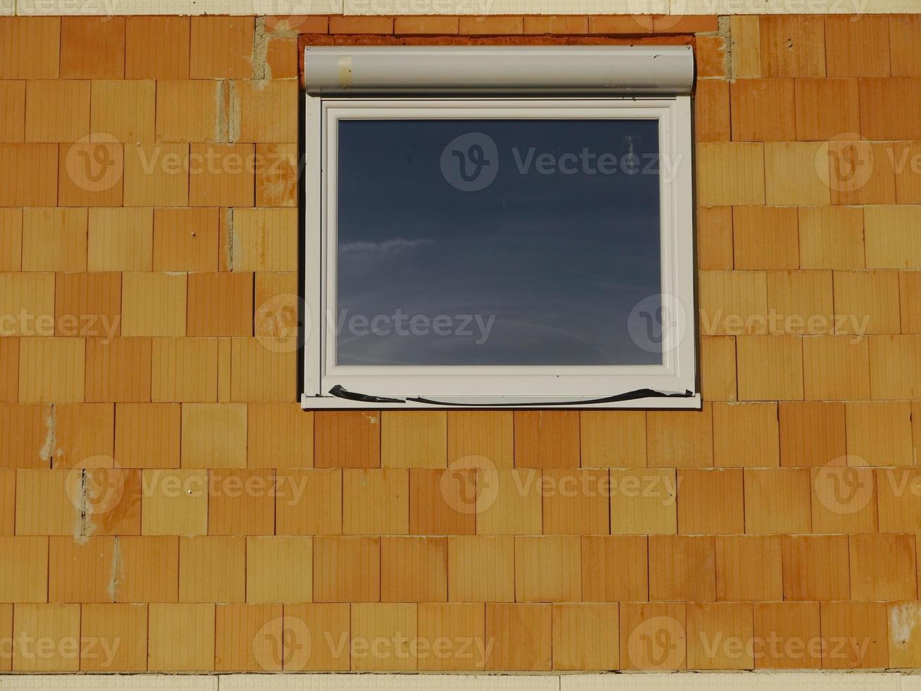 sitio de construcción casa ventana pared de ladrillo vidrio foto