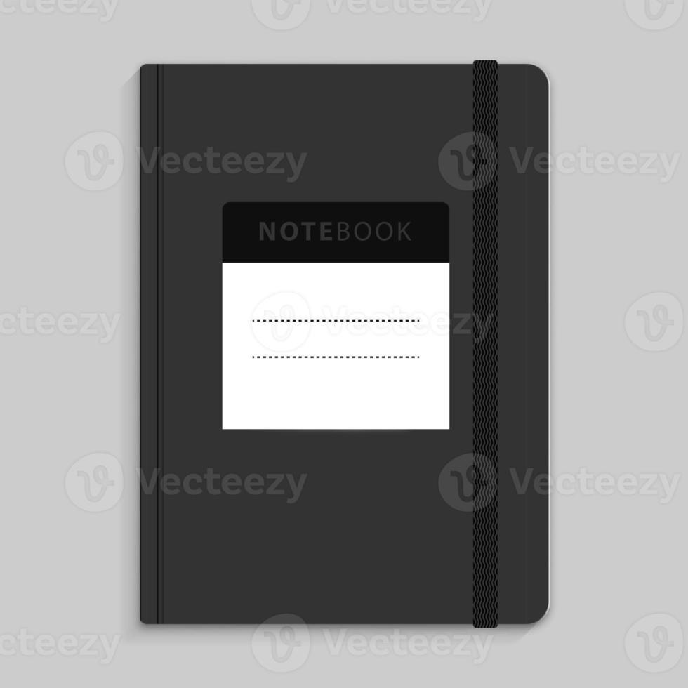 cuaderno de piel de topo con imagen de banda elástica negra foto