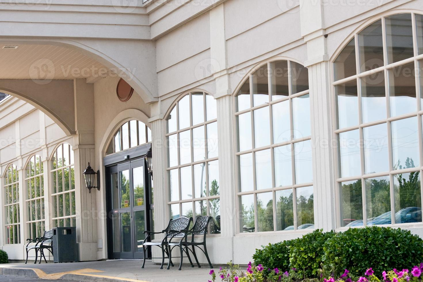 Front entrance of hotel photo