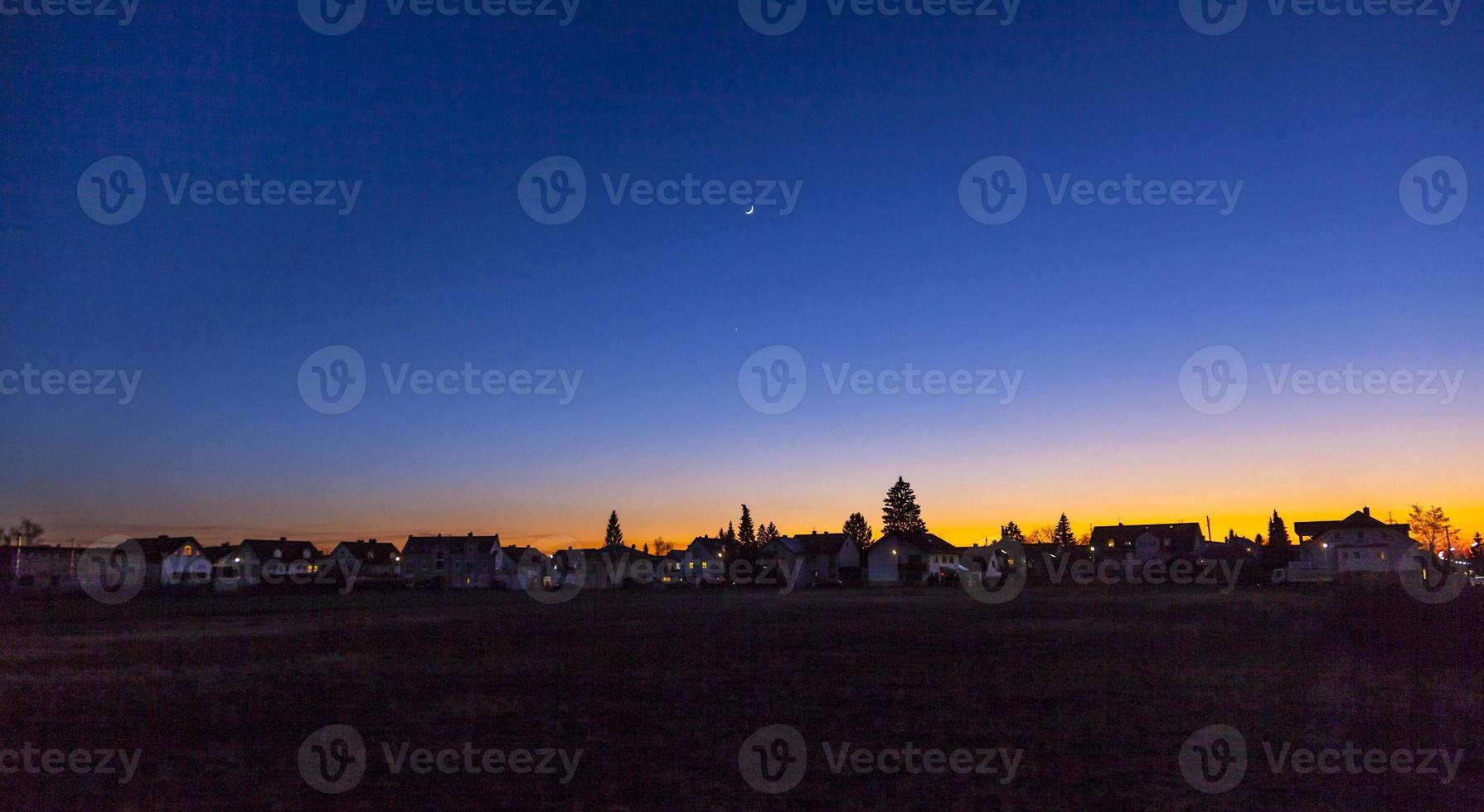 sunset  in suburban living area photo