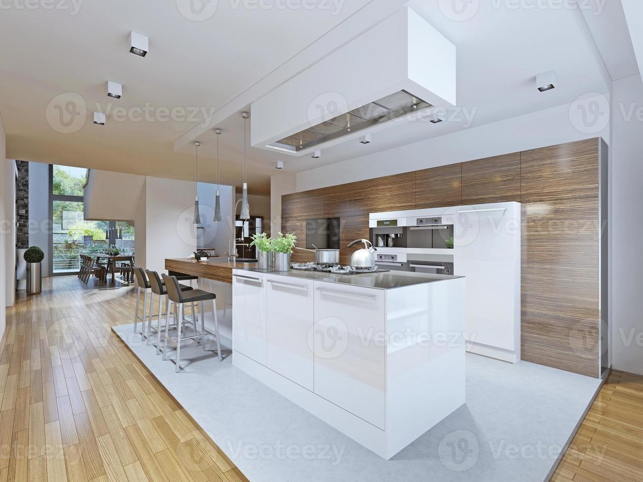 lichte keuken in avant-gardistische stijl foto