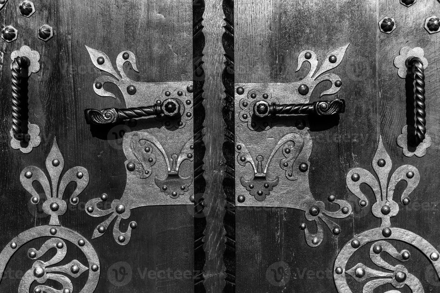 Wooden door with ancient floral patten photo