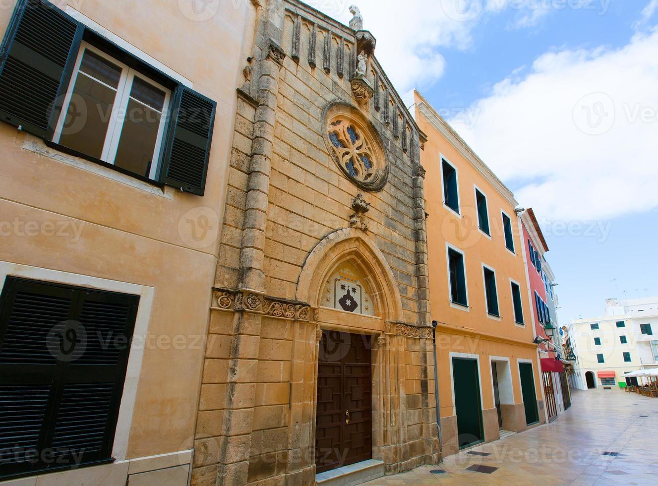 Ciutadella Menorca carrer Mao church downtown photo