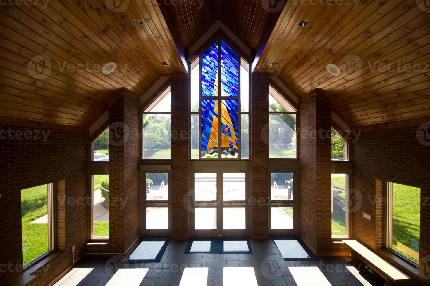 Modern Church Lobby with Stained Glass photo