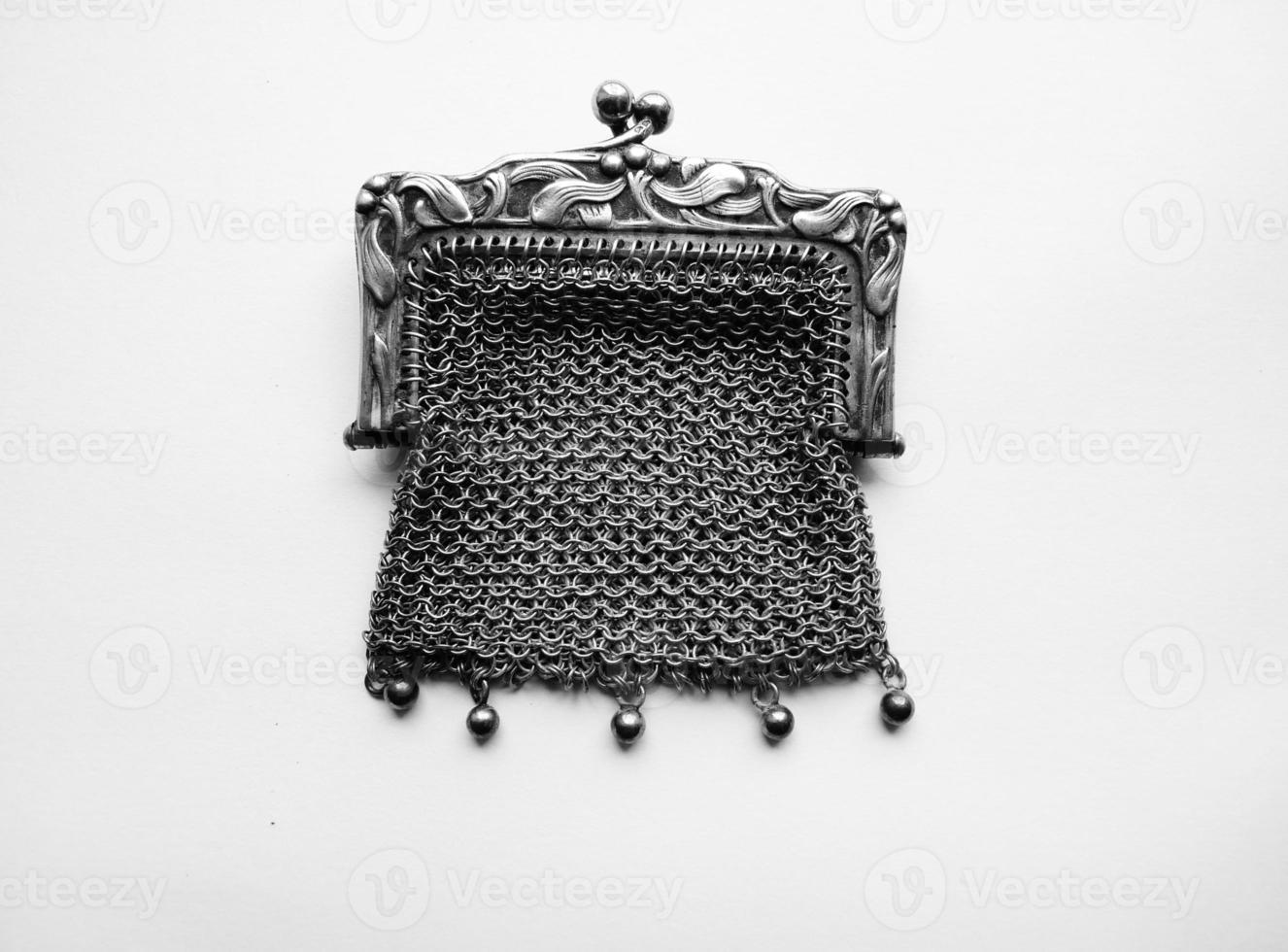 art nouveau mistletoe purse  gilt gold antique sterling silver photo
