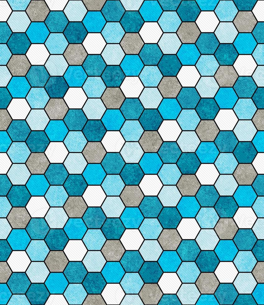 Blue, White and Gray Hexagon Mosaic Abstract Geometric Design Ti photo