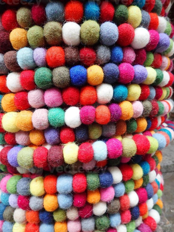 Multicolored textile balls photo