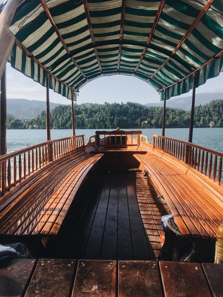 Wood bench on boat photo
