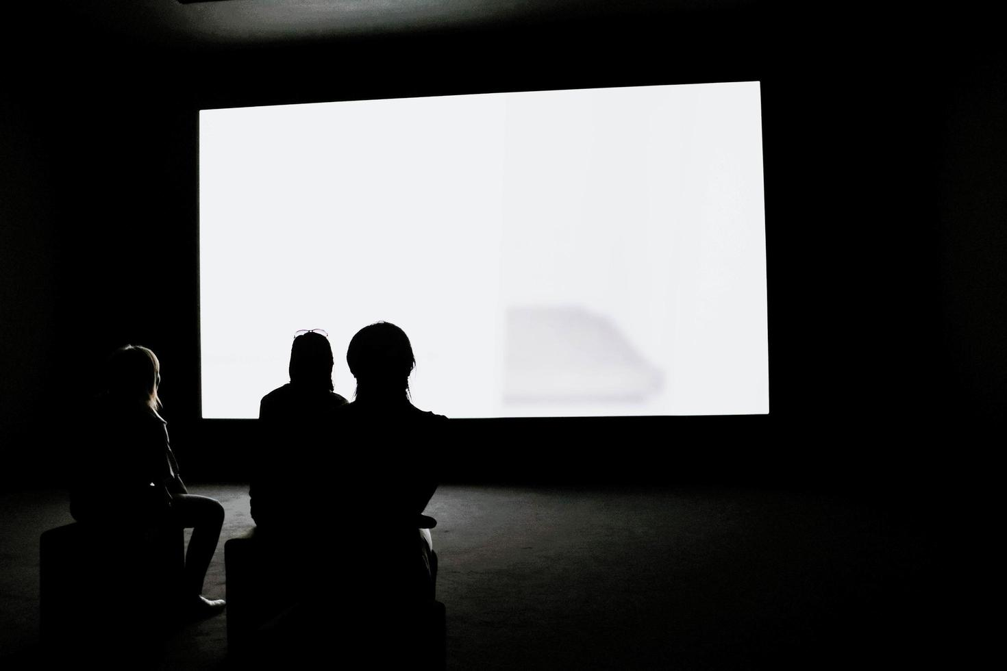 People looking at projection screen photo