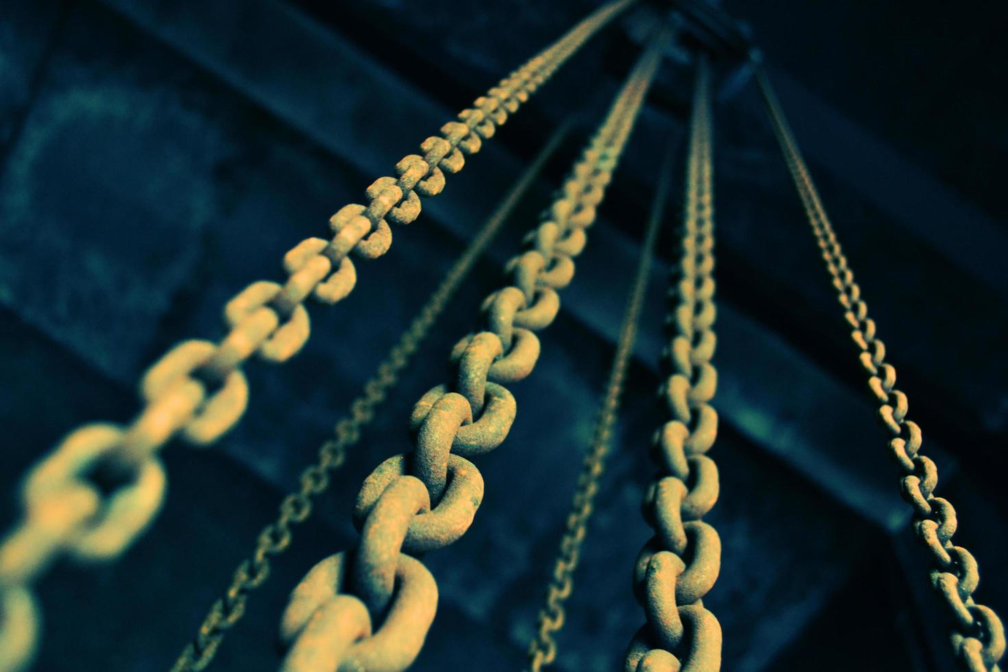 Low angle of metal chains photo