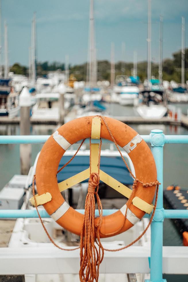 Orange life buoy photo