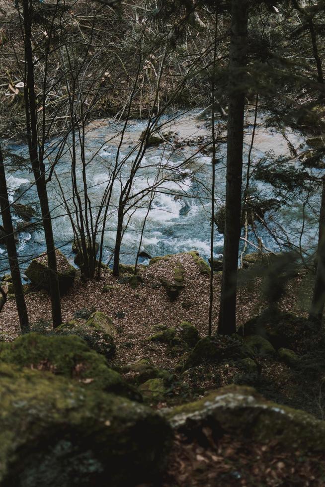 mirando hacia el río desde el acantilado foto