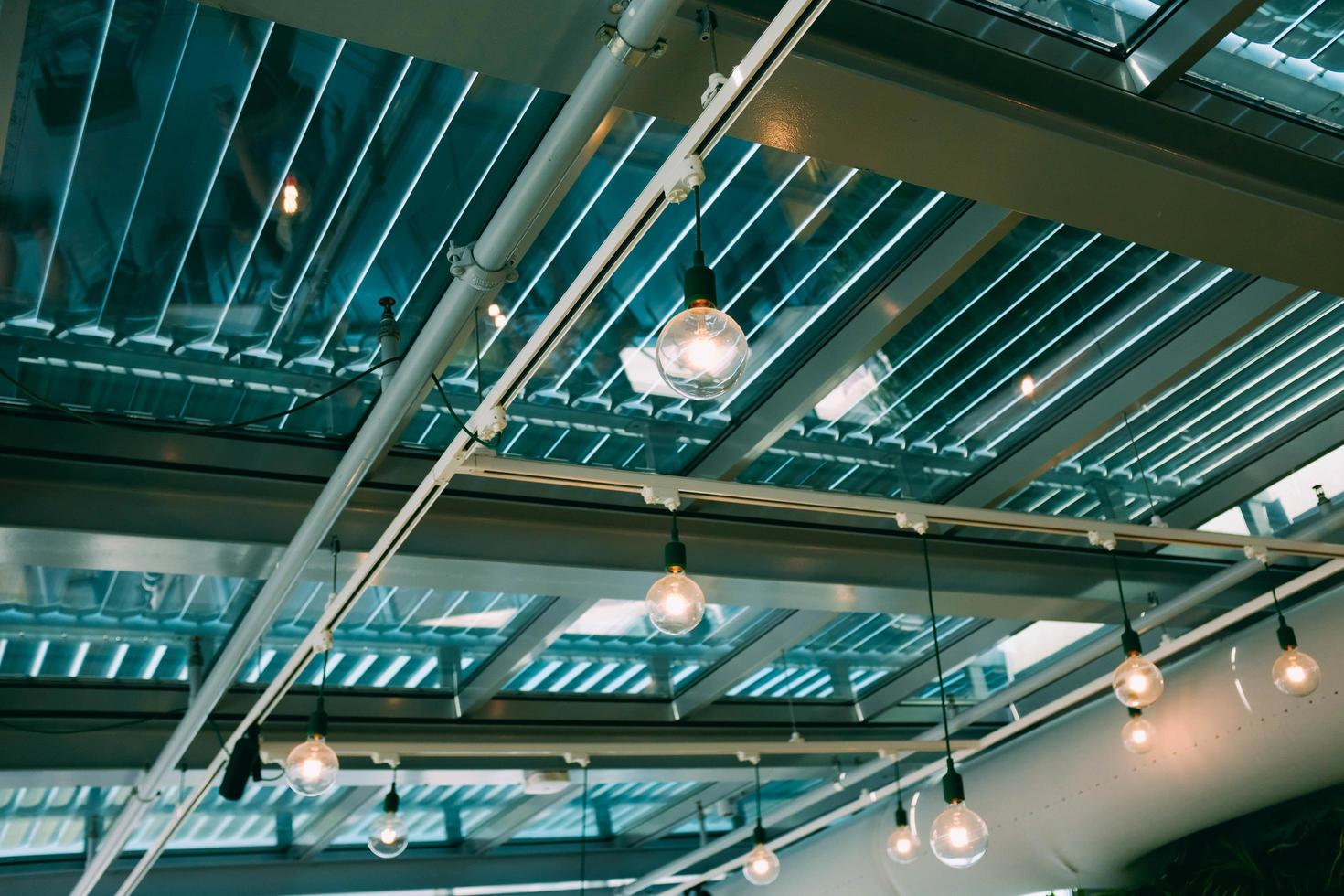 Clear bulbs in open ceiling photo